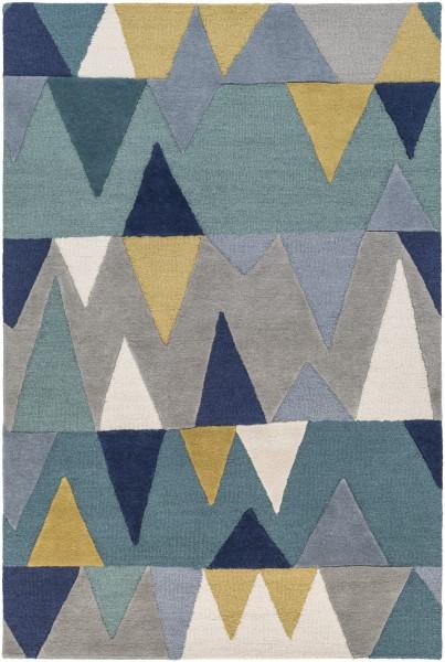 Bright Blue, Aqua, Wheat (KDY-3012) Contemporary / Modern Area Rug