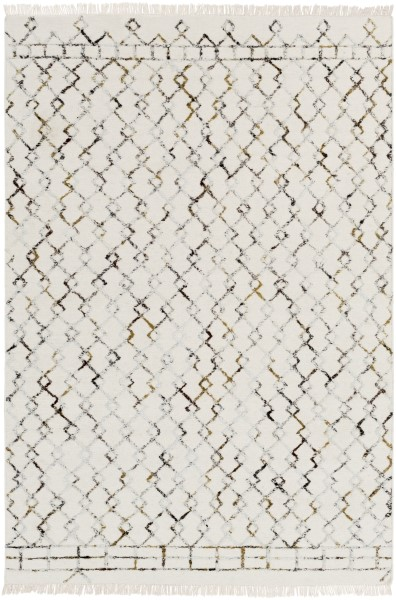 Cream, Tan, Camel, Black, Light Gray Moroccan Area Rug