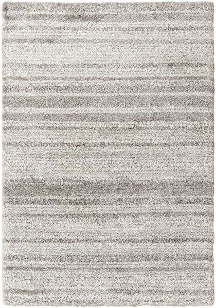 Taupe, White Striped Area Rug
