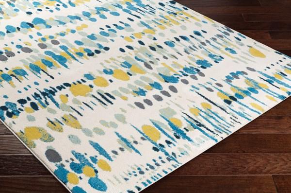 White, Aqua, Sky Blue, Mustard Contemporary / Modern Area Rug