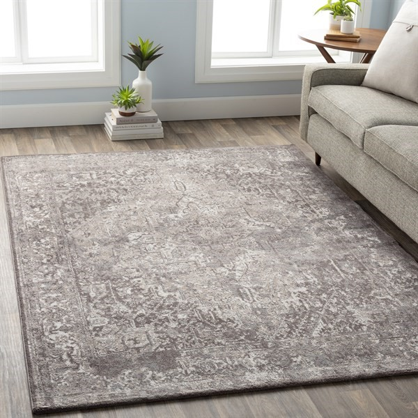 Medium Gray, White, Taupe Traditional / Oriental Area Rug