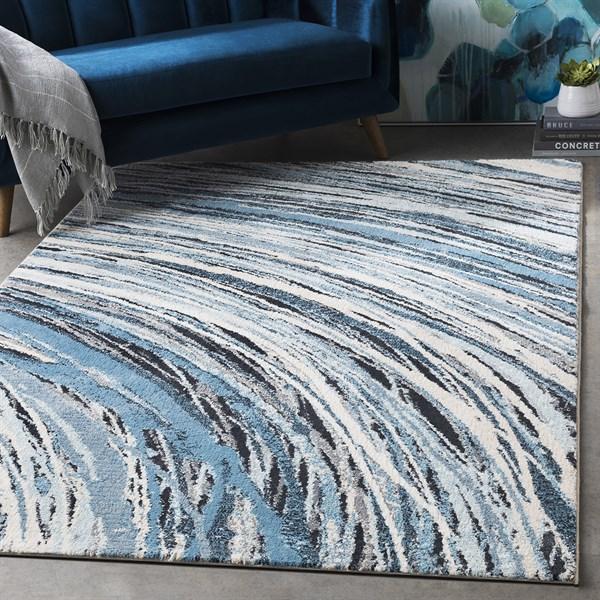 Blue, Grey, Cream Contemporary / Modern Area Rug