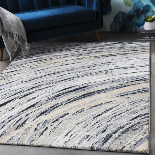 Cream, Grey, White Contemporary / Modern Area Rug