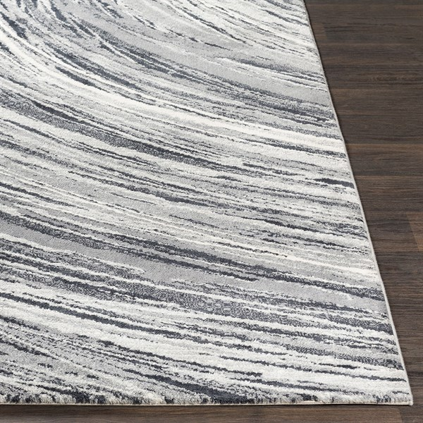 Grey, Charcoal, White Contemporary / Modern Area Rug