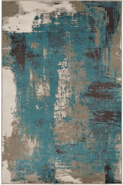 Beige, Aqua, Taupe, Dark Brown, Camel Abstract Area Rug