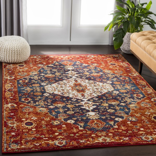 Red, Dark Blue, White Traditional / Oriental Area Rug