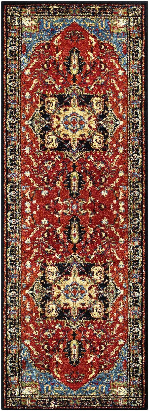 Dark Red, Black Traditional / Oriental Area Rug
