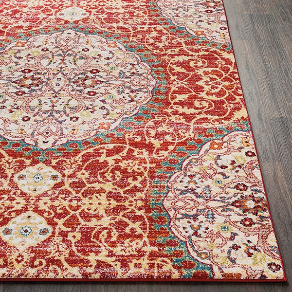 Red, Orange, White Traditional / Oriental Area Rug