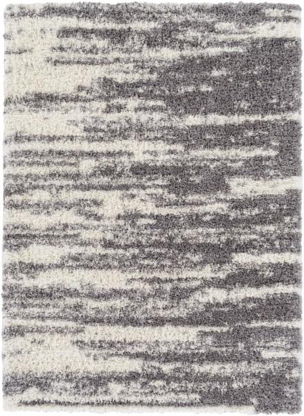 Medium Gray, White Shag Area Rug