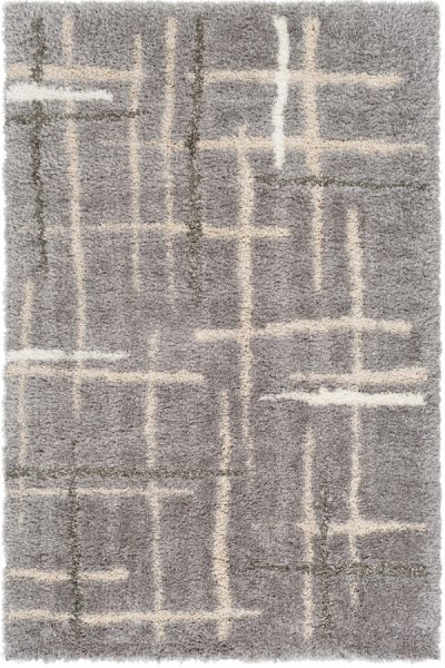 Light Gray, Cream, White, Medium Gray Shag Area Rug