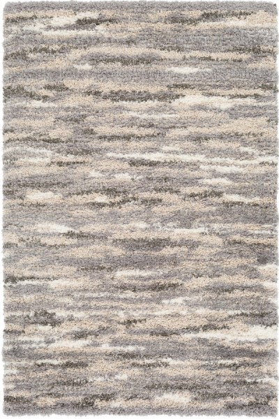 Medium Gray, Dark Brown, White, Cream Shag Area Rug