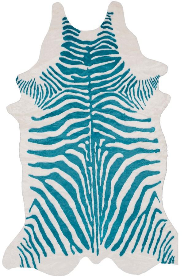 Aqua, White (RUA-1004) Animals / Animal Skins Area Rug