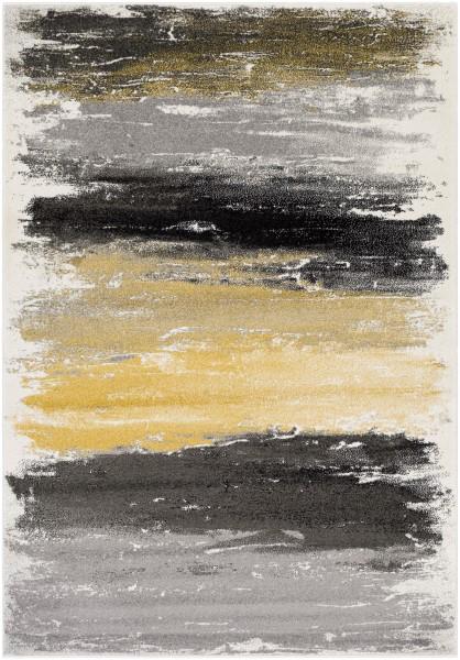 Gray, Charcoal, Black, Mustard, Cream (PEI-1008) Abstract Area Rug