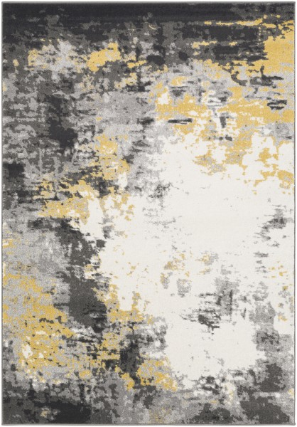 Charcoal, Black, Mustard, Cream, Gray (PEI-1011) Abstract Area Rug