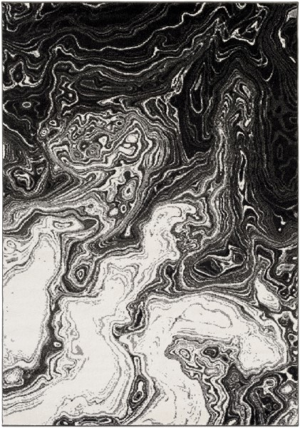 Black, Medium Gray, Cream (PEI-1014) Abstract Area Rug