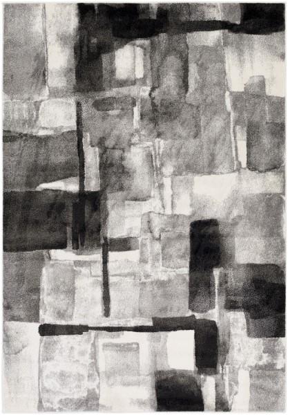 Black, Medium Gray, Cream (PEI-1019) Abstract Area Rug