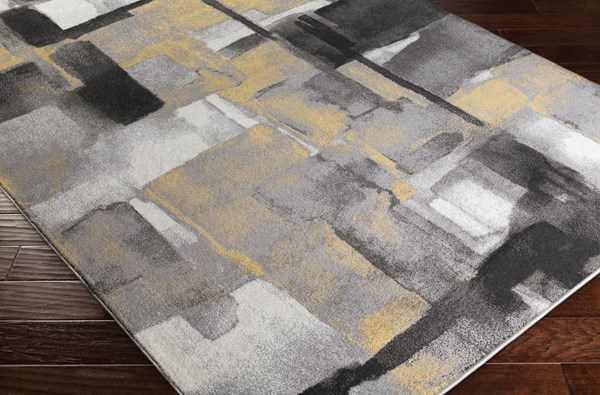 Black, Medium Gray, Mustard, Cream (PEI-1020) Abstract Area Rug