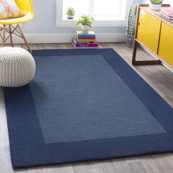 Navy (M-309) Bordered Area Rug