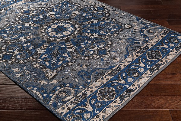 Navy, Charcoal, Grey (AMS-1017) Traditional / Oriental Area Rug