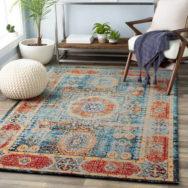 Blue, Saffron, Red, Taupe (1009) Vintage / Overdyed Area Rug