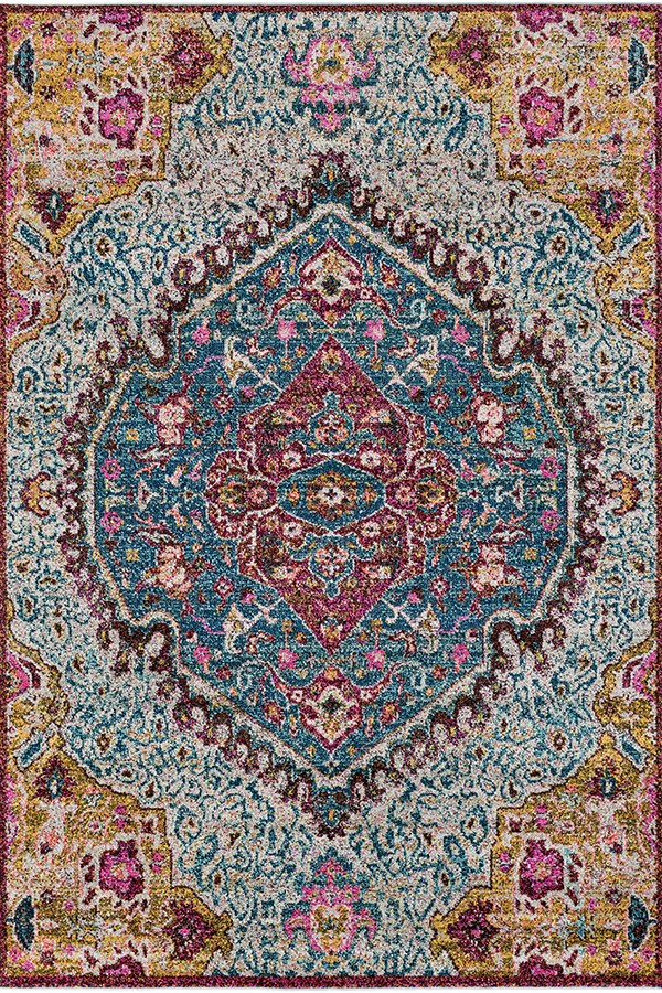 Blue, Teal, Bright Pink, Saffron Traditional / Oriental Area Rug
