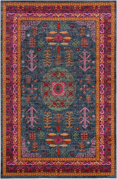 Teal, Bright Pink, Aqua, Black, Lime Traditional / Oriental Area Rug