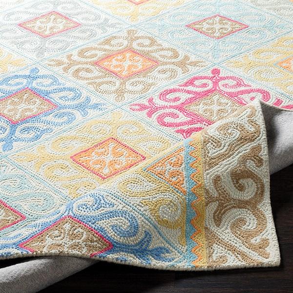 Sky Blue, Camel, Wheat Moroccan Area Rug