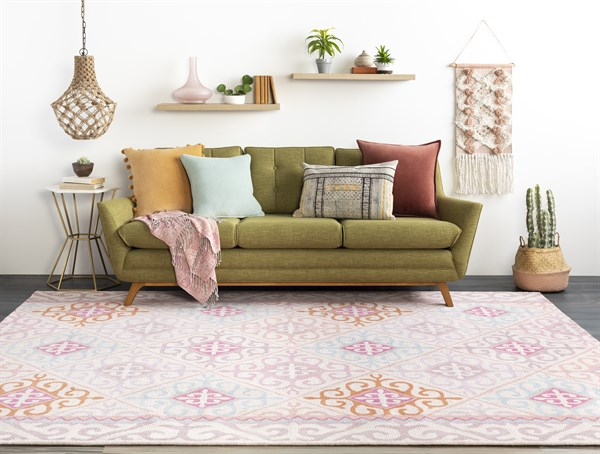 Blush, Lilac, Rose, Sky Moroccan Area Rug
