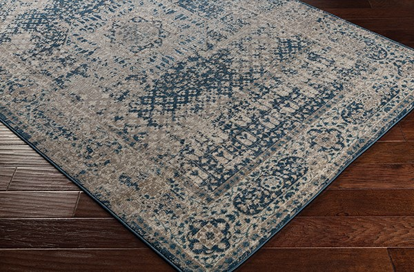 Navy, Cream, Taupe Traditional / Oriental Area Rug