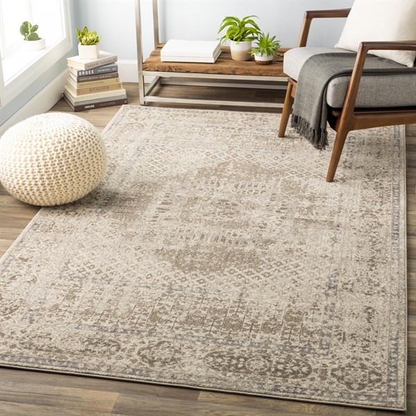Cream, Taupe, Charcoal, Light Grey Vintage / Overdyed Area Rug