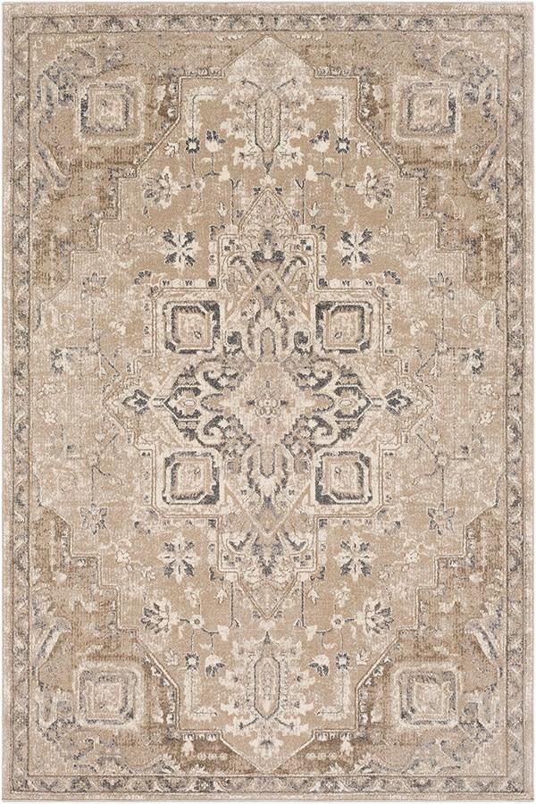 Camel, Cream, Medium Grey, Dark Brown, Charcoal Traditional / Oriental Area Rug