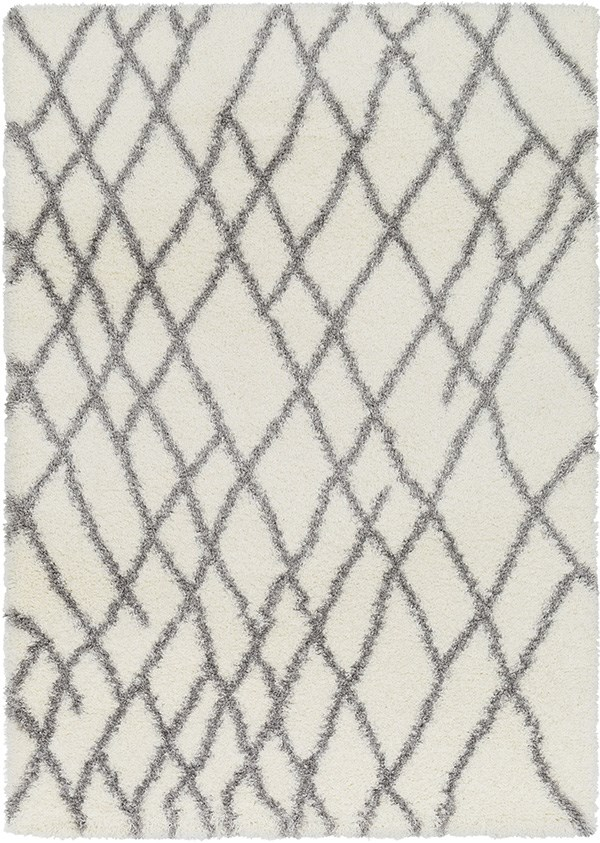 White, Medium Grey (CYS-3410) Shag Area Rug