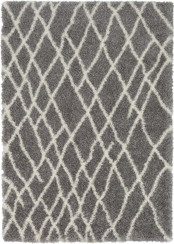 Medium Grey, White (CYS-3411) Shag Area Rug