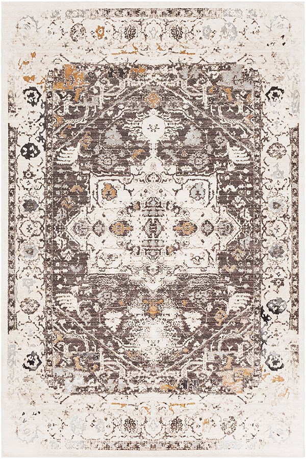 Dark Brown, Charcoal, Khaki Vintage / Overdyed Area Rug