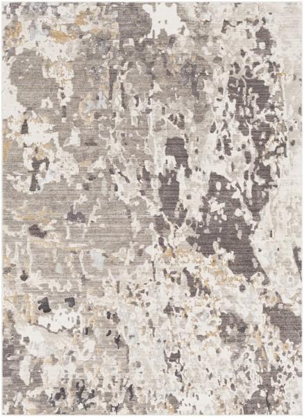 Camel, Dark Brown, Khaki, Silver Abstract Area Rug