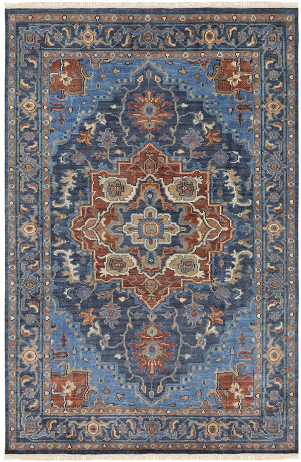 Bright Blue, Navy, Khaki, Camel, Dark Green Traditional / Oriental Area Rug