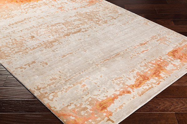 Burnt Orange, Peach, Wheat, Light Grey (EPH-1001) Contemporary / Modern Area Rug