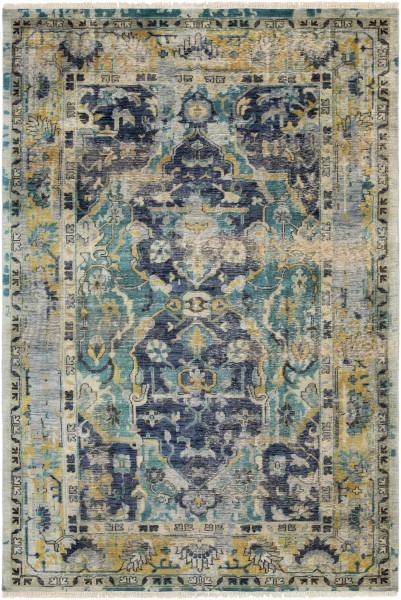 Navy, Teal, Wheat Vintage / Overdyed Area Rug