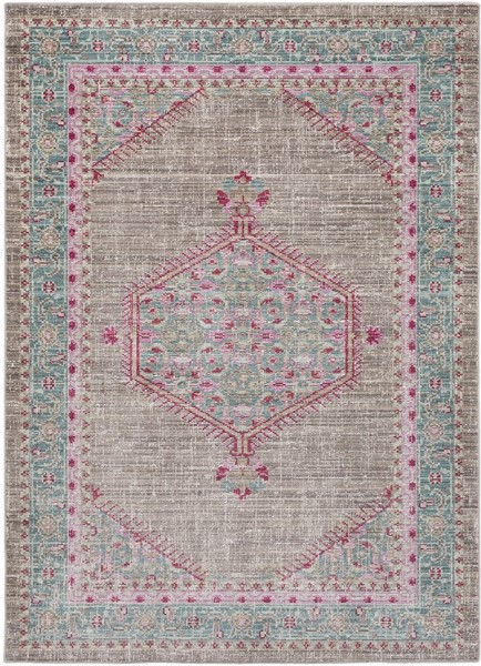 Taupe, Teal, Bright Pink,  Southwestern / Lodge Area Rug