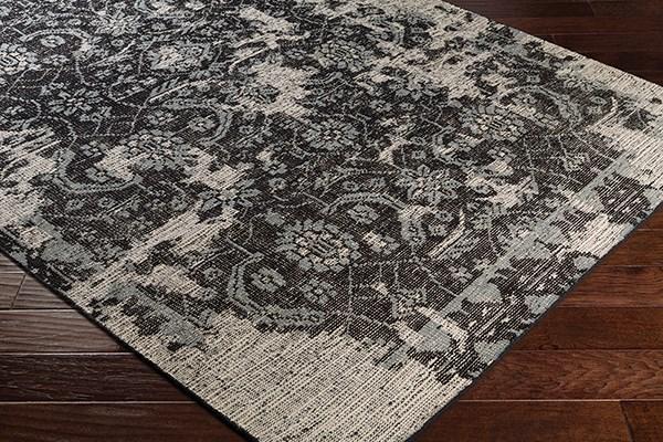 Khaki, Black, Pale Blue Vintage / Overdyed Area Rug