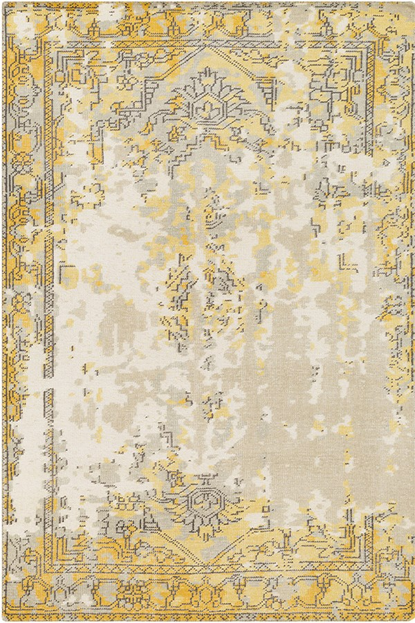Taupe, Bright Yellow, Charcoal, Light Grey Vintage / Overdyed Area Rug