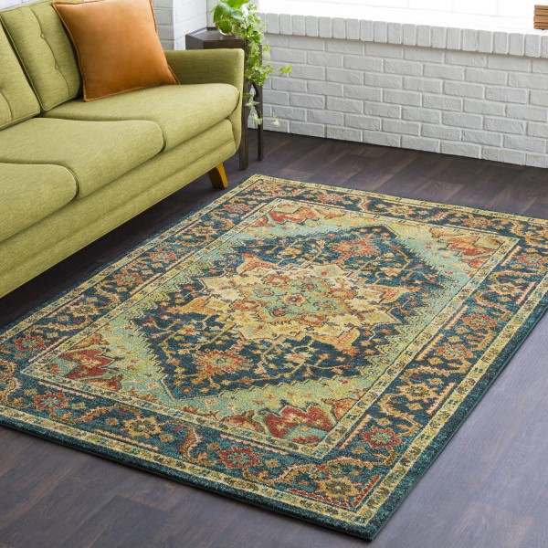 Teal, Rust, Burnt Orange, Khaki, Yellow Traditional / Oriental Area Rug