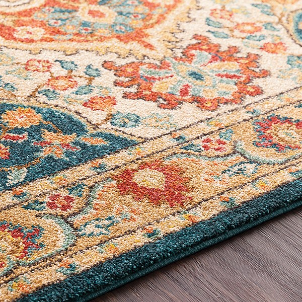 Sea Foam, Burnt Orange, Khaki, Rust, Camel Traditional / Oriental Area Rug