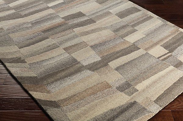Cream, Medium Grey, Light Grey, Wheat Contemporary / Modern Area Rug