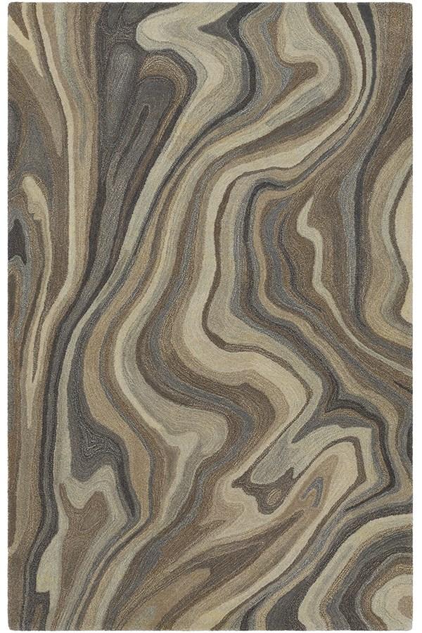 Medium Grey, Navy, Dark Brown, Camel Abstract Area Rug