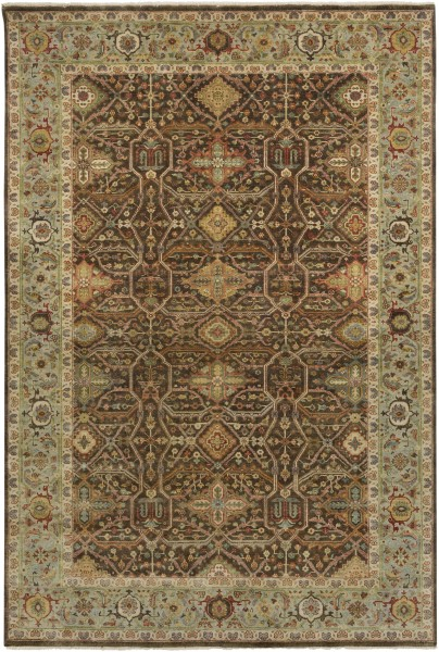Black, Rust, Khaki, Sea Foam Traditional / Oriental Area Rug