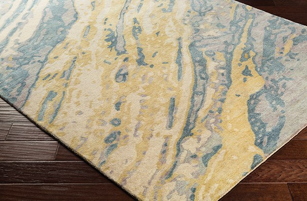 Sage, Teal, Sea Foam, Taupe, Butter Abstract Area Rug