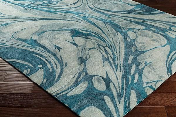 Teal, Sage, Sea Foam Abstract Area Rug