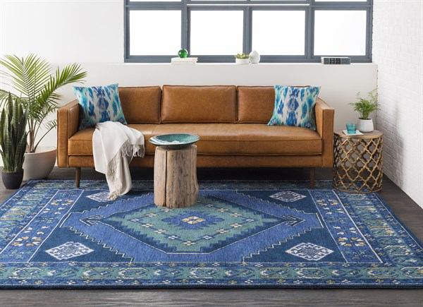 Navy, Teal (ABA-6253) Southwestern / Lodge Area Rug