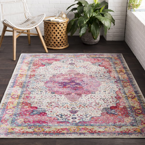 Bright Pink, Rose, Bright Red, Medium Grey, Navy Vintage / Overdyed Area Rug